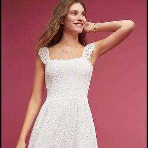 Anthropologie Smocked White Lace Dress MAEVE M NWT
